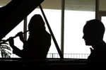 Flute and Piano silhouette