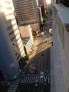Figueroa Street looking down town from the roof top of the Jonathan Club Los Angeles, CA