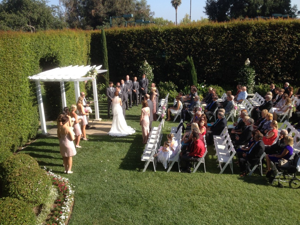 Altadena Wedding Ceremony Picture from the Balcony