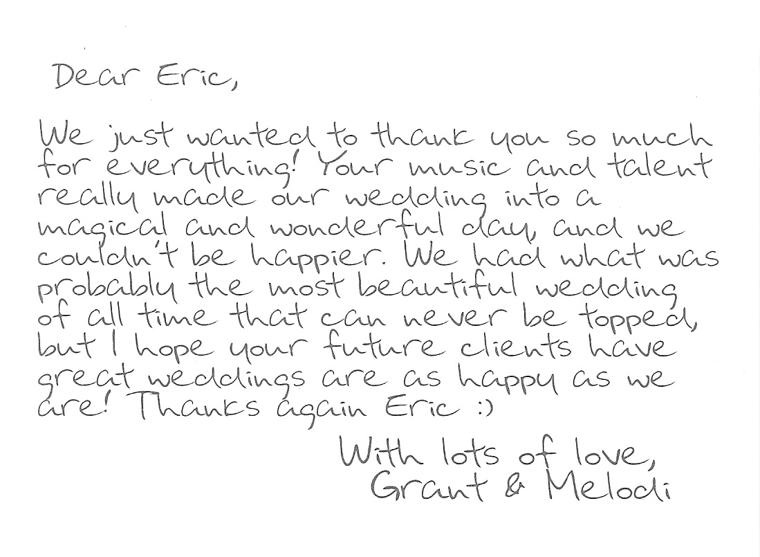 """""""Thank You"""" note from Melodi and Grant"""