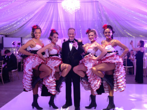 DJ/Master of Ceremonies Eric Zimmermann with French Cancan dancers who really can Cancan!