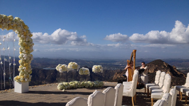 Harp and Flute for Wedding Ceremony on the Helicopter pad of Rocky Oaks Estates