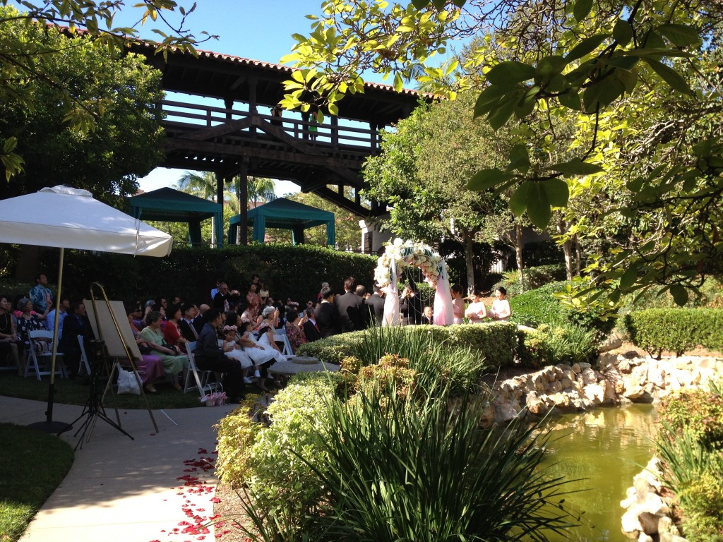 Wedding Ceremony Japanese Garden Langham Hotel Pasadena
