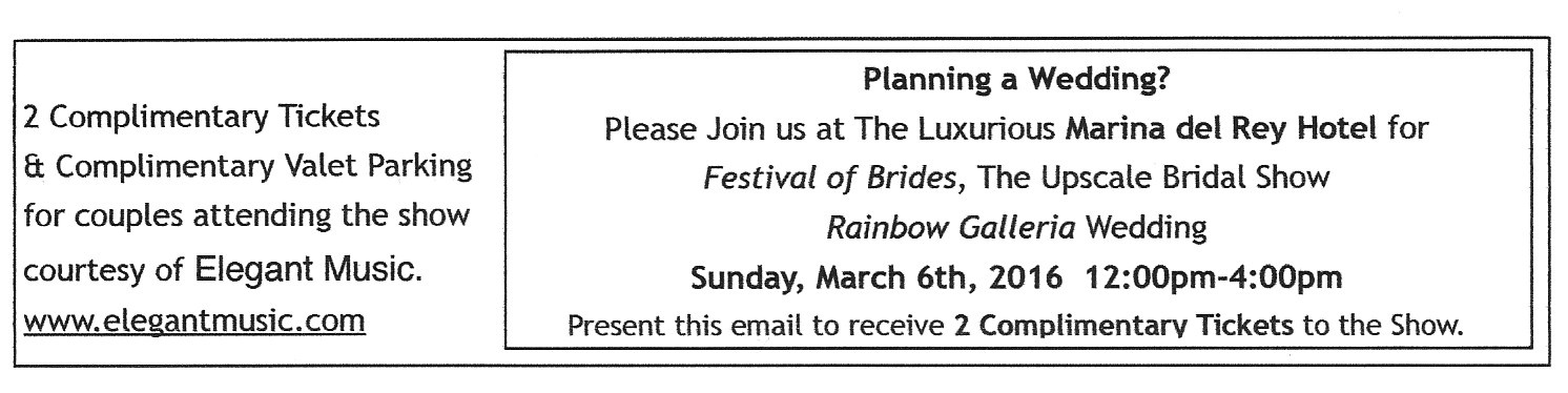 Two Complimentary Tickets and Valet Parking for couples attending the show courtesy of Elegant Music