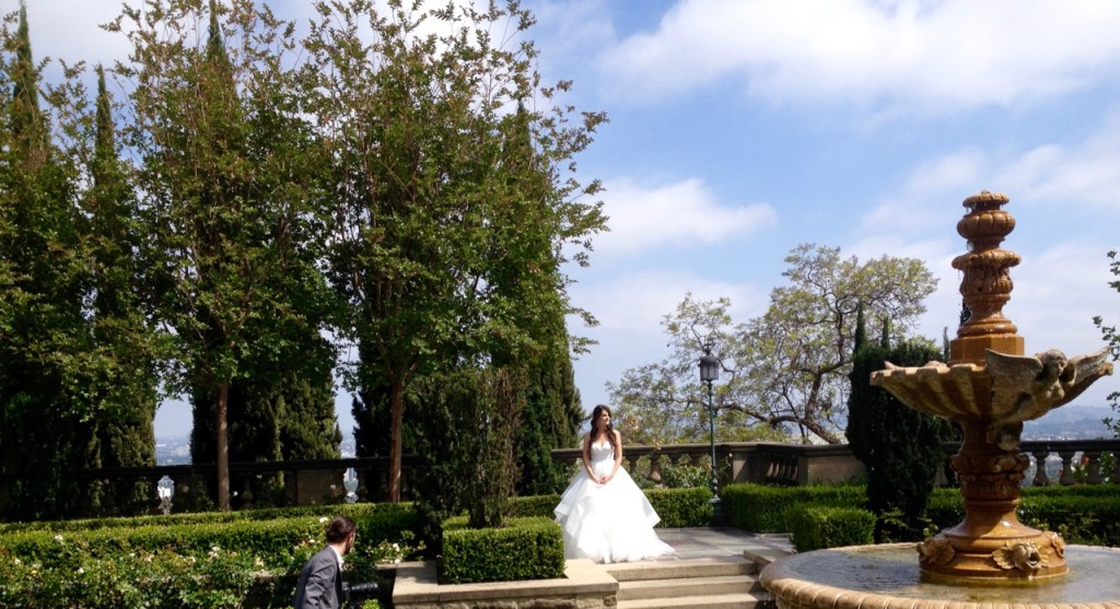 Beautiful Bride in the Formal Garden @ Greystone Mansion