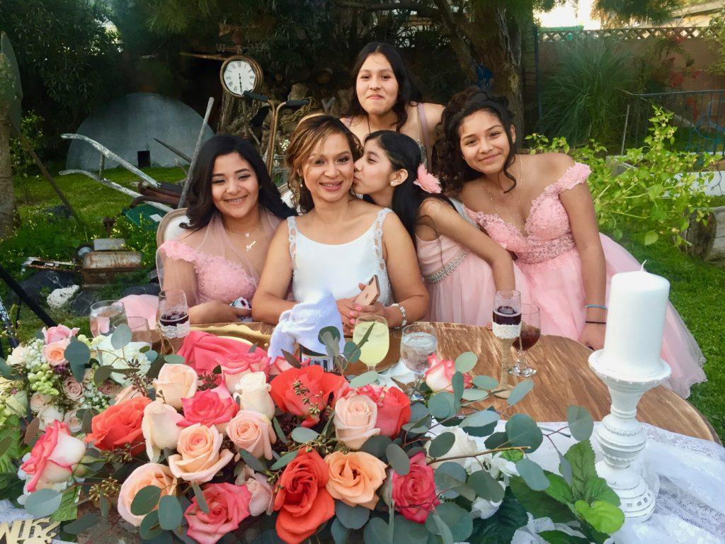 Backyard Weddilng Bride with Flower Girls