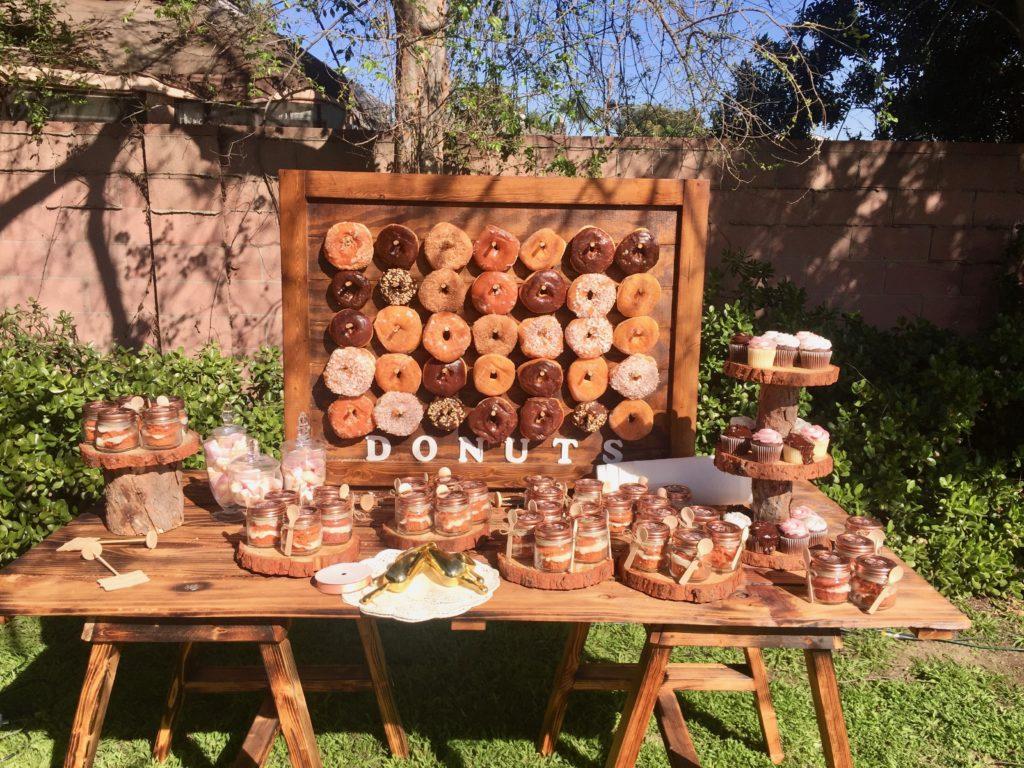 Backyard Wedding Donut Wall with Carot Cake